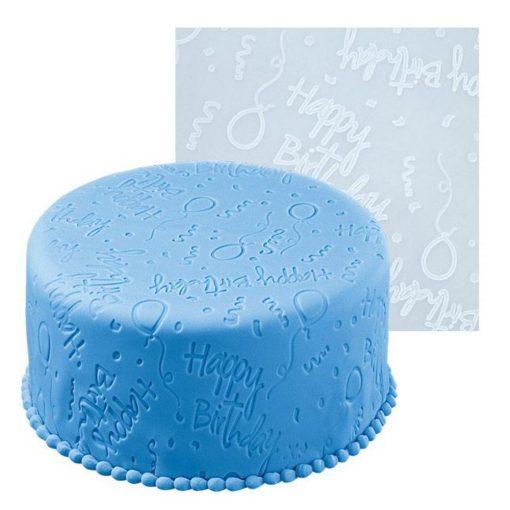 Óriás szilikon fondant mintázó lap, nyújtó lap – Happy Birthday felirattal