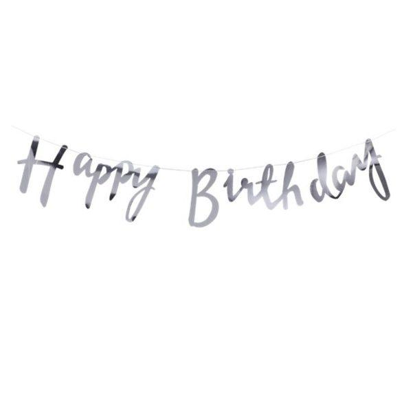 Happy Birthday feliratú party füzér, születésnapi banner – Ezüst