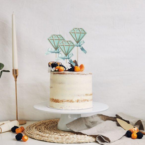 4 darabos torta és sütemény dekoráció – Kék gyémánt