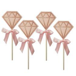4 darabos torta és sütemény dekoráció – Rózsaszín gyémánt