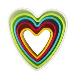 5 darabos színes műanyag süteménykiszúró – Szív