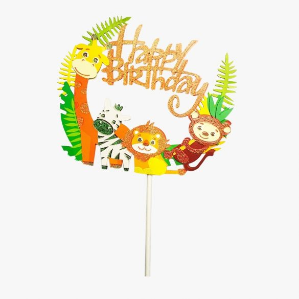 Torta dekoráció – Happy Birthday - Szafari
