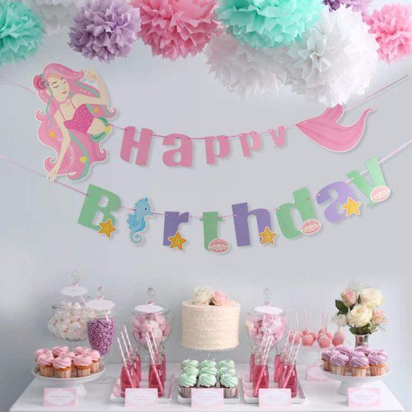 Happy Birthday party füzér, banner – Sellő