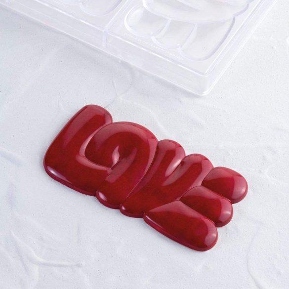 Polikarbonát forma – Táblás csokoládé – LOVE