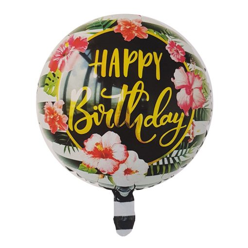 Kör alakú fólia lufi – Happy Birthday virágokkal