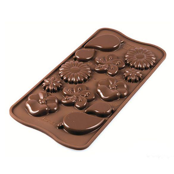 Szilikon bonbon, csokoládé forma – Virágok és levelek