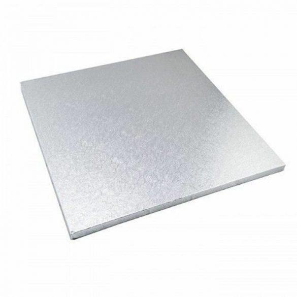 Ezüst színű, négyzet alakú torta dob – 20*20