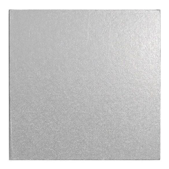 Ezüst színű, négyzet alakú torta dob – 25*25