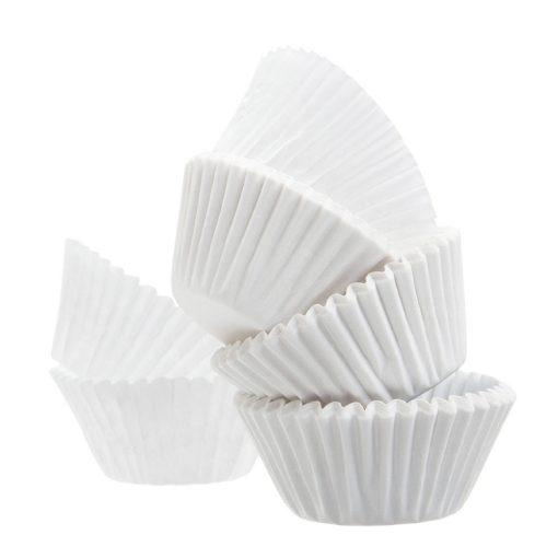 100 darabos muffin papír, bonbon papír – Fehér