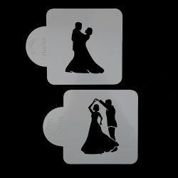 Torta sablon, stencil – Esküvő, ifjú pár (ZN610)