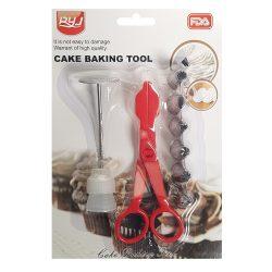 9 részes tortadíszítő szett –Díszítőcsövekkel, csatlakozóval, virágszöggel és tortadíszítő ollóval