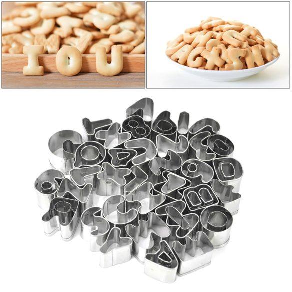 26 darabos fém süteménykiszúró – Betűk
