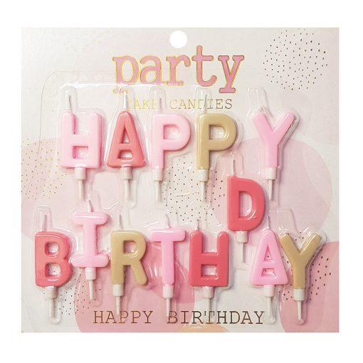 Happy Birthday feliratú születésnapi gyertya – Rózsaszín