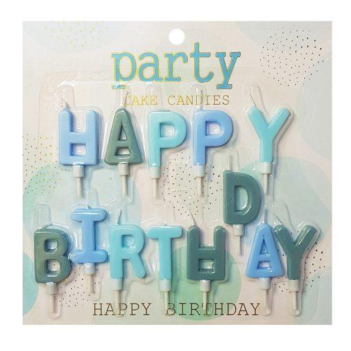 Happy Birthday feliratú születésnapi gyertya – Kék