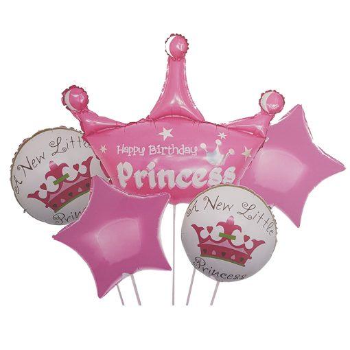 5 darabos fólia lufi babaváró, babköszöntő – Princess – Rózsaszín