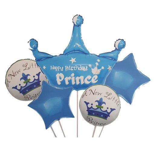 5 darabos fólia lufi babaváró, babköszöntő – Prince – Kék