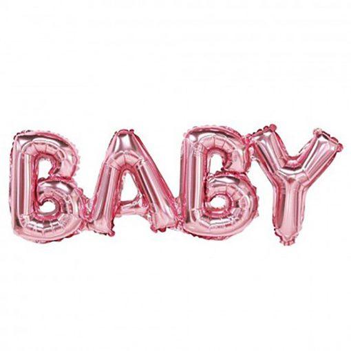 Fólia lufi – BABY felirattal – Rózsaszín