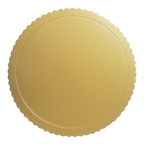 Arany színű kör alakú fodros karton tortaalátét – 30 cm