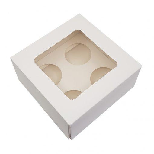 Ablakos, muffin és cupcake tartó papír doboz – 4 részes (D00100)