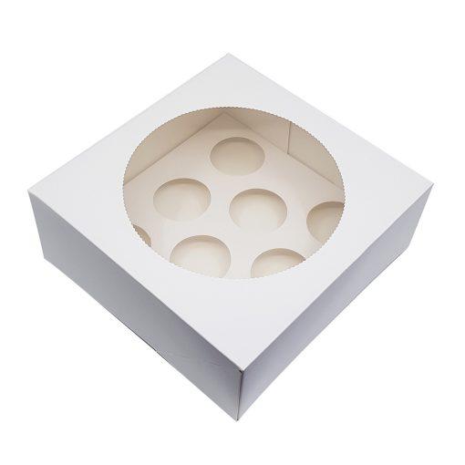 Ablakos, muffin és cupcake tartó papír doboz – 8 részes (D00102)