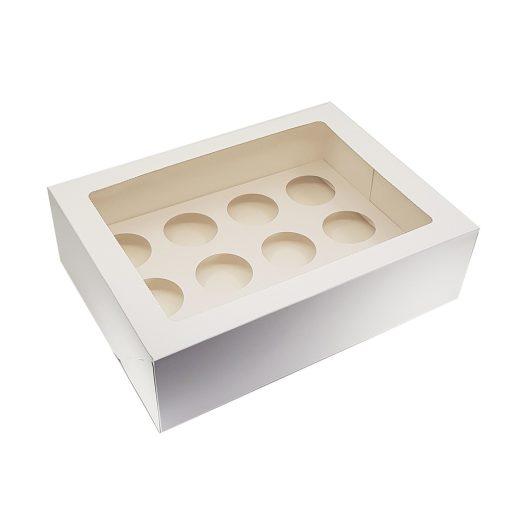 Ablakos, muffin és cupcake tartó papír doboz – 12 részes