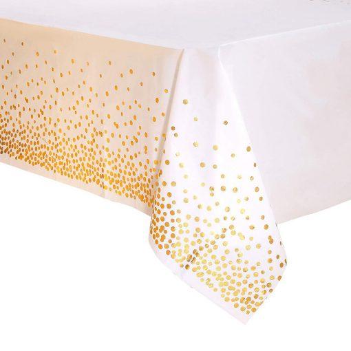Műanyag asztalterítő – Fehér alapon arany pöttyös