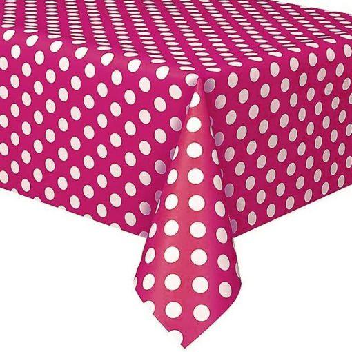 Műanyag asztalterítő – Rózsaszín alapon fehér pöttyös
