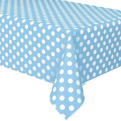 Műanyag asztalterítő – Kék alapon fehér pöttyös