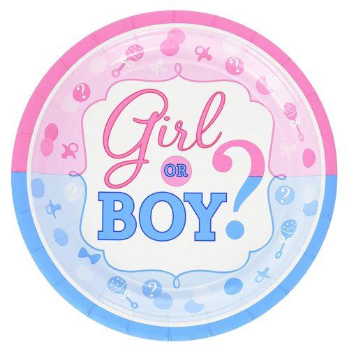10 darabos papír tányér – Babaváró – Girl or Boy