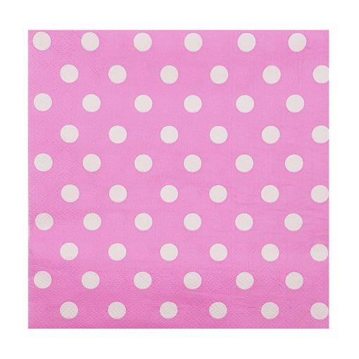 20 darabos papír szalvéta - Rózsaszín alapon fehér pöttyös