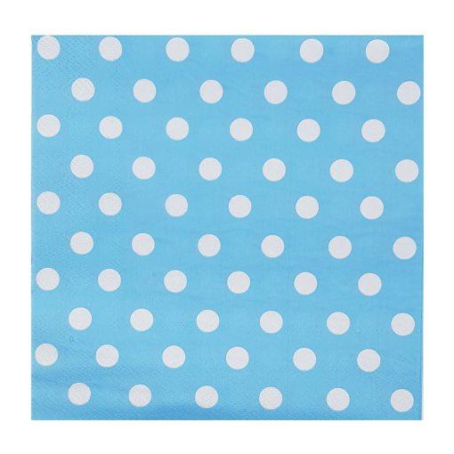 20 darabos papír szalvéta - Kék alapon fehér pöttyös