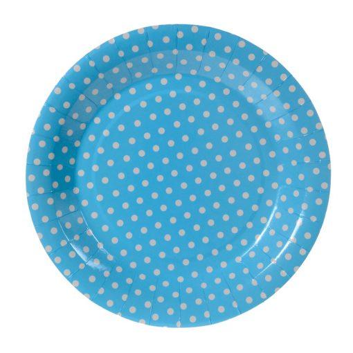 6 darabos papír tányér – Kék alapon fehér pöttyös
