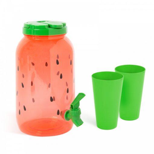 Dinnye mintás műanyag italadagoló csappal + 2 pohár