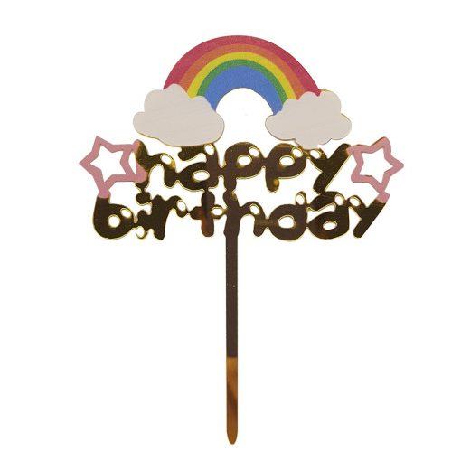 Torta dekoráció, torta beszúró – Szivárvány – Happy Birthday