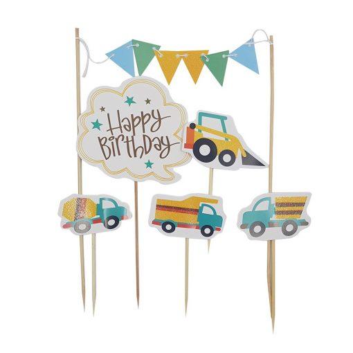 6 darabos torta dekoráció, torta beszúró – Happy Birthday – Munkagépek, autók