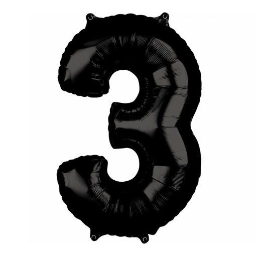 Óriás szám fólia lufi – 3 - Fekete