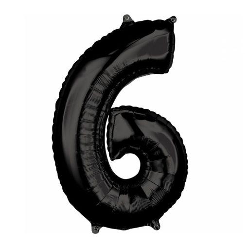 Óriás szám fólia lufi – 6 - Fekete