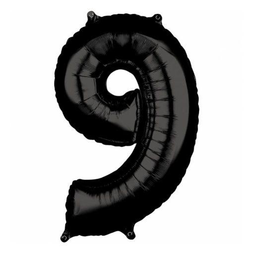 Óriás szám fólia lufi – 9 - Fekete