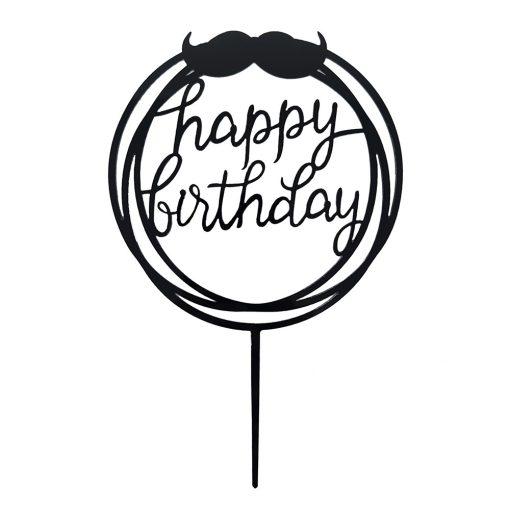 Torta dekoráció, torta beszúró – Happy Birthday – Bajusz