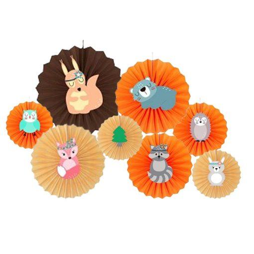 Legyező alakú party dekoráció – Erdei állatok